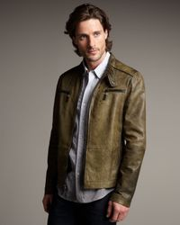 Royal Underground Brown Seam-detail Leather Motorcycle Jacket for men