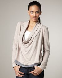 Splendid | Natural Draped Terrycloth Sweater | Lyst