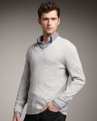 Theory - Gray Ribbed V-neck Sweater for Men - Lyst