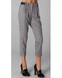 Tibi | Gray Pleated Pants | Lyst