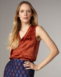 Tory Burch | Brown Jasmine Satin Blouse | Lyst