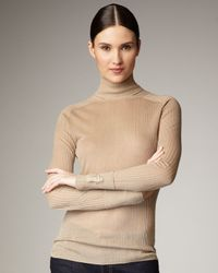 Tory Burch - Natural Caleb Sheer Ribbed Turtleneck, Walnut - Lyst