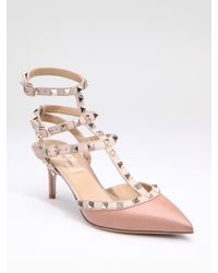 Valentino | Pink Rockstud Leather Runway Pump | Lyst