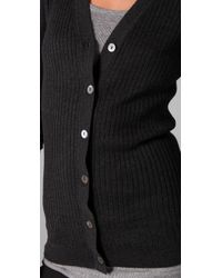 Vince - Gray Ribbed Cardigan Sweater - Lyst