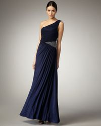Aidan Mattox | Blue One-shoulder Beaded-waist Gown | Lyst