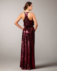 Aidan Mattox | Purple Racerback Sequined Gown | Lyst