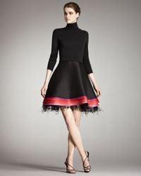 Chado Ralph Rucci | Black Turtleneck Feather-hem Dress | Lyst