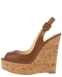 Christian Louboutin - Brown Cork-wedge Slingback Pump - Lyst