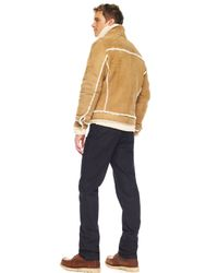Michael Kors | Brown Shearling Racing Jacket, Handknit Cable Sweater & Modern-fit Dark Rinse Jeans for Men | Lyst