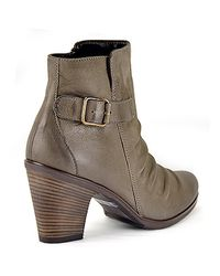 Paul Green | Gray Joellen - Grey Pleated Leather Bootie | Lyst