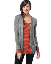 Splendid | Gray Melange Loose Knit Grandpa Cardigan | Lyst
