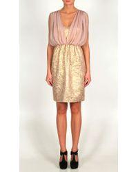 Tibi - Pink Metallic Damask Jacquard & Chiffon Dress - Lyst