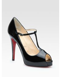 Christian Louboutin | Black Patent Leather Peep Toe Pumps | Lyst