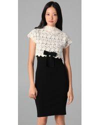 RED Valentino - White Macrame Knit Cap Sleeve Dress - Lyst