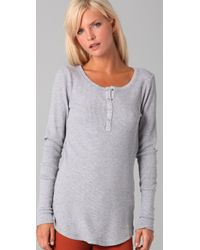Splendid | Gray Thermal Henley | Lyst