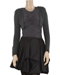 Carven - Gray Cropped Wool Bolero Cardigan - Lyst