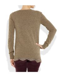 CLU | Natural Lace-trimmed Wool-blend Sweater | Lyst