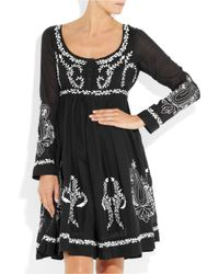 Collette by Collette Dinnigan - Black Embroidered Cotton-blend Voile Dress - Lyst