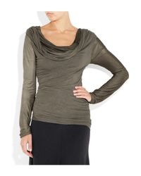 Donna Karan | Gray Draped Jersey and Satin-jersey Top | Lyst