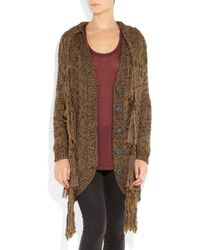 Elizabeth and James - Brown Fringed Chunky-knit Cardi-coat - Lyst