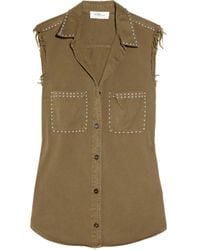 Étoile Isabel Marant | Green Olena Studded Cotton-twill Shirt | Lyst