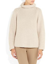 Jil Sander | Natural Ribbed Cashmere Turtleneck Sweater | Lyst