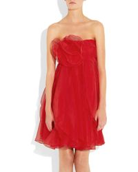 Notte by Marchesa - Red Rosette-embellished Organza Dress - Lyst