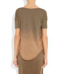 Raquel Allegra - Brown Shredded Dip-dye Cotton-jersey T-shirt - Lyst