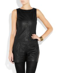 Theory - Black Jenma Leather Playsuit - Lyst