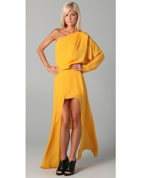 Acne | Yellow Emile Silk Maxi Dress | Lyst