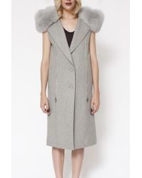 Alexander Wang | Gray Sleeveless Coat with Fur Collar | Lyst