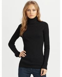 VINCE | Black Ribbed Cashmere Turtleneck Sweater | Lyst
