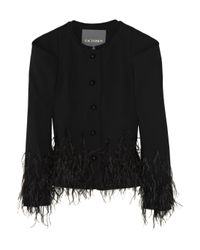 Zac Posen | Black Feather-embellished Wool-blend Jacket | Lyst