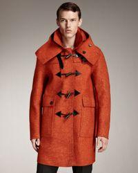 Burberry Prorsum | Orange Sculptural Felt Duffle Coat for Men | Lyst