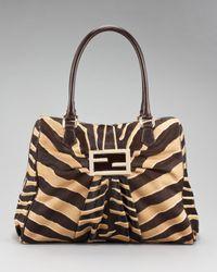 Fendi   Multicolor Zebra-print Calf Hair Mia Bag   Lyst