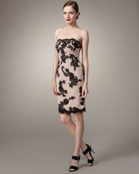 Mandalay Natural Strapless Two-tone Lace Dress
