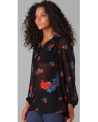 MINKPINK | Black Minkpink Carnaby Gypsy Floral Chiffon Blouse | Lyst