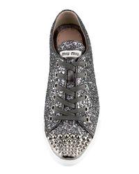 Miu Miu - Gray Glitter Sneaker - Lyst