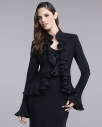 St. John | Black Mesh Pique Ruffle Jacket | Lyst