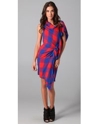 Thakoon | Red Plaid Asymmetrical Dress | Lyst