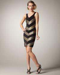 Alice + Olivia   Vida Chevron Tank Dress in Black   Lyst
