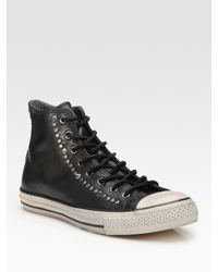 Converse | Black John Varvatos Studded Leather High-tops for Men | Lyst