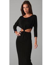 Halston | Black Cut Out Waist Long Dress | Lyst