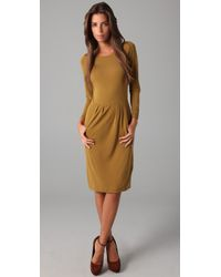 Halston - Brown 3/4 Sleeve Dress - Lyst