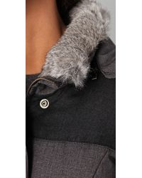 Hanii Y | Gray Hooded Parka With Fur Trim | Lyst