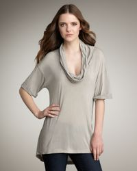 James Perse - Gray Cowl-neck Tee - Lyst