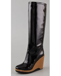 Marc By Marc Jacobs | Black Patent Leather Knee-high Wedge Rain Boots | Lyst