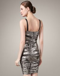 Nicole Miller - Metallic Foiled V-neck Dress - Lyst