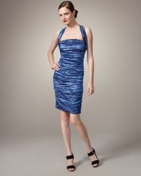 Nicole Miller | Blue Techno Metallic Halter Dress | Lyst