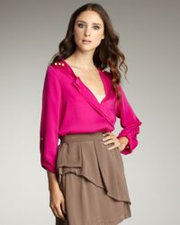 T-bags | Pink Deep V-neck Blouse | Lyst
